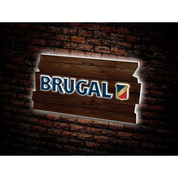 Espositore luminoso Brugal con frontale in legno