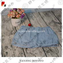 Cute girls shorts sewing polka dot jeans