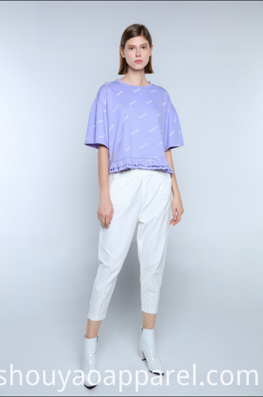 CROPPED T-SHIRT WITH RUFFLED HEM