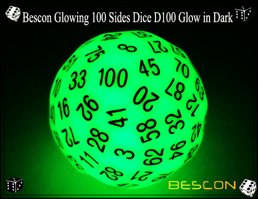 Bescon Glowing 100 Sides Dice D100 Glow in Dark-1
