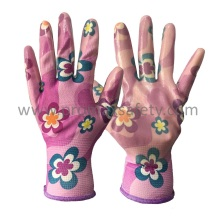 Flower Design Polyester Liner Clear Nitrile Palm Coated Garden Gants