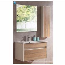 Extremadamente durable pared de lavabo de cerámica estándar colgado de madera imitación de armario de baño de vanidad de baño