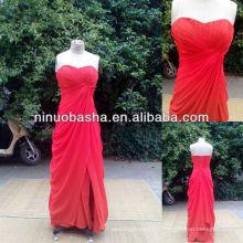 NW-381 en mousseline de soie plissée à fente avant robe de soirée