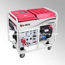 8kw Luftgekühlter Zweizylinder Benzingenerator mit Rädern (GG12000E)