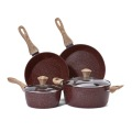 nonstick aluminium set bakelite handle with wooden coating