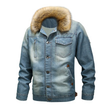 Men's Denim Jacket with Fur Collar for Winter
