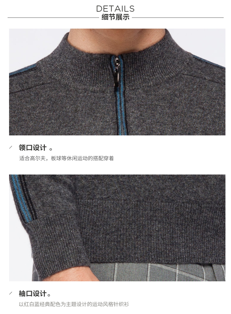 Men's cashmere half zip sweater details