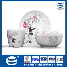 wholesale fashion design 3 pieces porcelain gift breakfast set for lovers