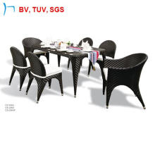 Fishbone Weaving Dining Table and Chair with Cushion (2063)