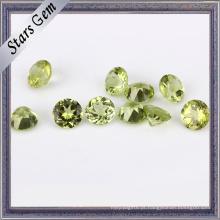 Pedra preciosa redonda verde-oliva do Peridot da verde azeitona
