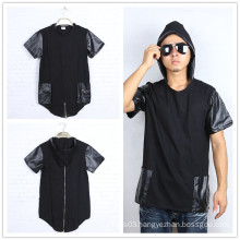 Leather Patch Short Sleeve T Shirts