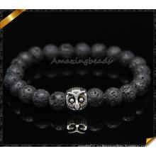 Естественные черные браслеты лавы, браслеты собирая сыча (CB091)