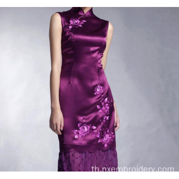 Retro Long Section Embroidery Cheongsam แบบยาว