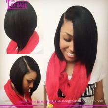 Шелковистая прямая Бразильский человеческих волос короткий Боб парики для чернокожих женщин