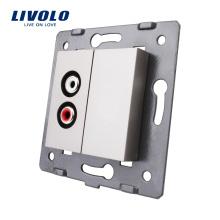 Clé de fonction standard UE de matériaux de plastique gris de Livolo pour la prise C7-1AD-15 de prise électrique audio