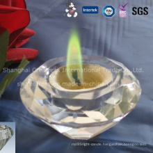 Colored Flame Tea Light in Crystal Candlestick