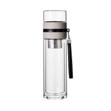 400ML Custom Double Wall Insulated Glass Water Bottle With Filter Reusable Glass Water Bottle
