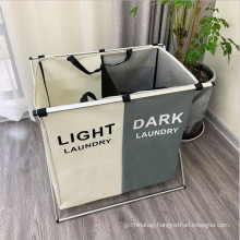 Custom laundry basket double Foldable laundry hamper dirty clothes basket for Home laundry