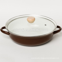 enamel hot pot in color body with glass lid and wooden knob