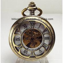 Flor en forma de recorte cubierta personalizada reloj de bolsillo mecánico