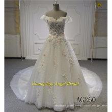 Factory Price off Shoulder Wedding Dress Bridal Gown