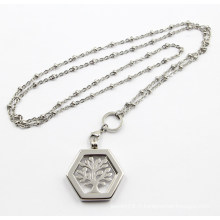 Silver Stainleel steel Floating Locket Pendentif avec Life of Tree Coin Necklace