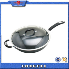 Best Selling New Edelstahl und Bakelit Griff Aluminium Wok Pan