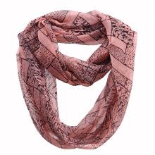 Ladies Fashion Leopard Printed Polyester Chiffon Infinity Scarf (YKY1113)