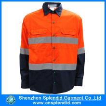 China Fábrica de vestuário de alta visibilidade reflexiva trabalho segurança camisa para homens