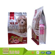 La coutume a imprimé le sac en plastique d'aliments pour animaux familiers de fond plat de serrure de fermeture à glissière de preuve d'humidité forte