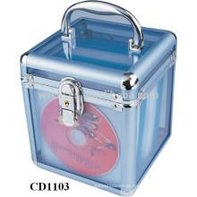 caixa de cd de alumínio da alta qualidade CD 100 discos com limpar painel acrílico como paredes por atacado