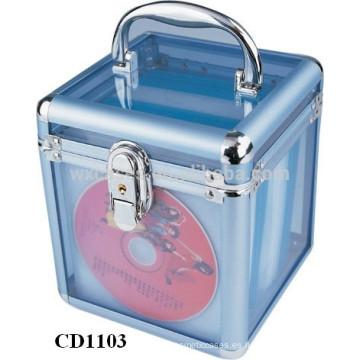 la caja cd CD 100 discos de aluminio de alta calidad con claro panel de acrílico como paredes por mayor