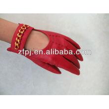 Guante de muñeca guantes de cuero rojo para señora