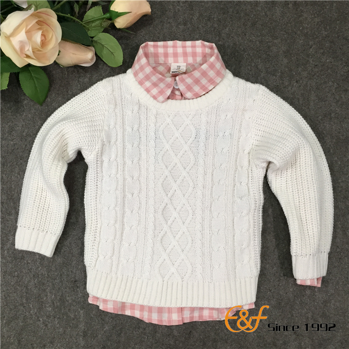 Pure Color Pullover Sweater for Girl