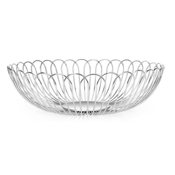 Modern Home Table Decor Silver Metal Wire Countertop Fruit Bowl For Kitchen Basket Holder Stand