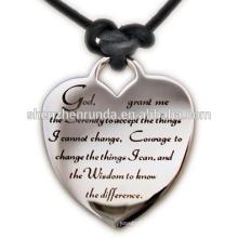 Haute qualité bijoux en acier inoxydable Serenity Prière Coeur en cuir Collier Hope Wisdom Courage Faith