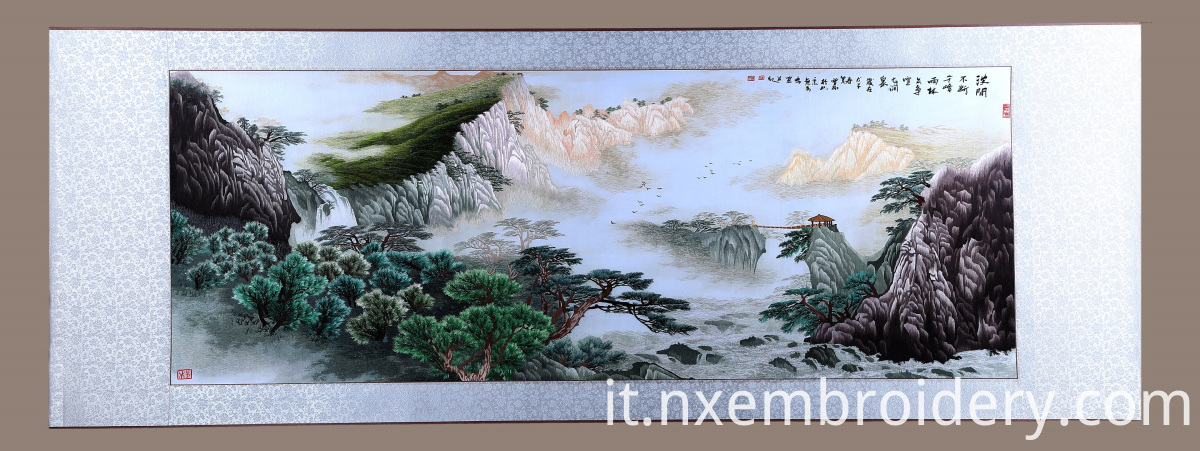 hand embroidered landscape painting