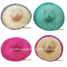 Chapéu de palha simples sombrero mexicano feito sob medida