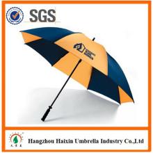 2015 alta qualidade haste contínua Pongee fibra de vidro Golf reta promocionais fábrica de guarda-chuva