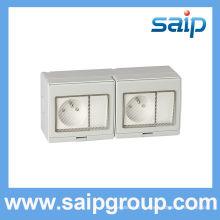2014 Saip IP55 plus récent interrupteur mural étanche et prise 20A 110-250V SP-2FRS 2 PLUG