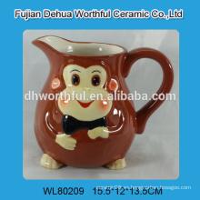 Jarra de leche de cerámica grande con diseño de mono