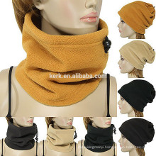 Snow-flower pattern knitted fleece beanie fleece tube scarf neck warmer