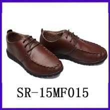 Zapatos de cuero del desgaste del vintage zapatos de los hombres del redondo-dedo del pie calzado del mem