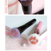 Roze Zwart Cute Cat Paw Foundation Brush
