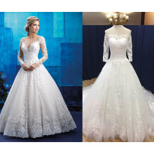 Full Sleeve Illusion Wedding Dress with Lace Edge