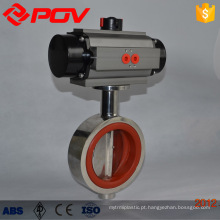 Válvula de borboleta pneumática tipo de bolacha sanitária