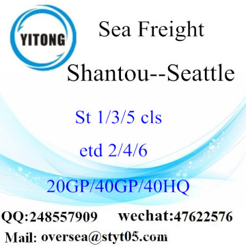 Trasporto merci del mare di Shantou Port a Seattle