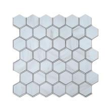 Soulscrafts Metal and white marble look cheap ceramic tile hexagon backsplash mosaic tile