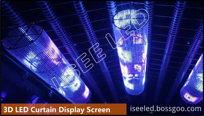 3D led curtain display screen with 2cm led bead light