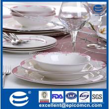 Золотой ободок кость фарфор обеденная тарелка / corelle тарелка королевская кость фарфор / фарфор производство блюд с точками декор